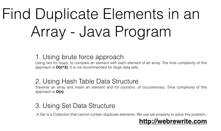 Find Duplicate Elements in an Array - Java Program