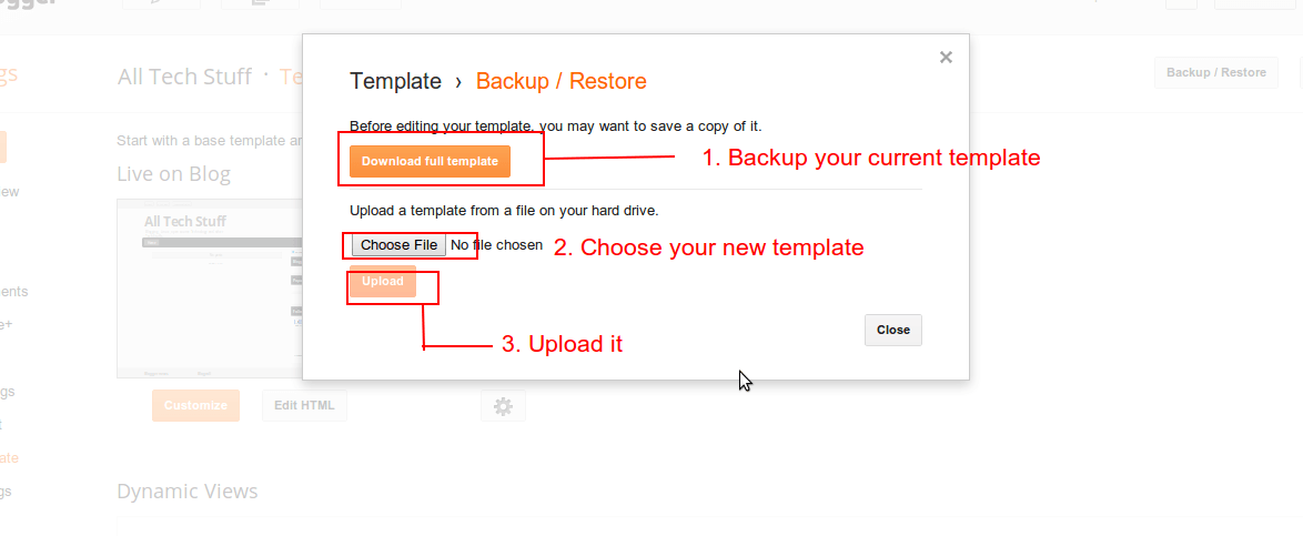 upload custom template in blogspot