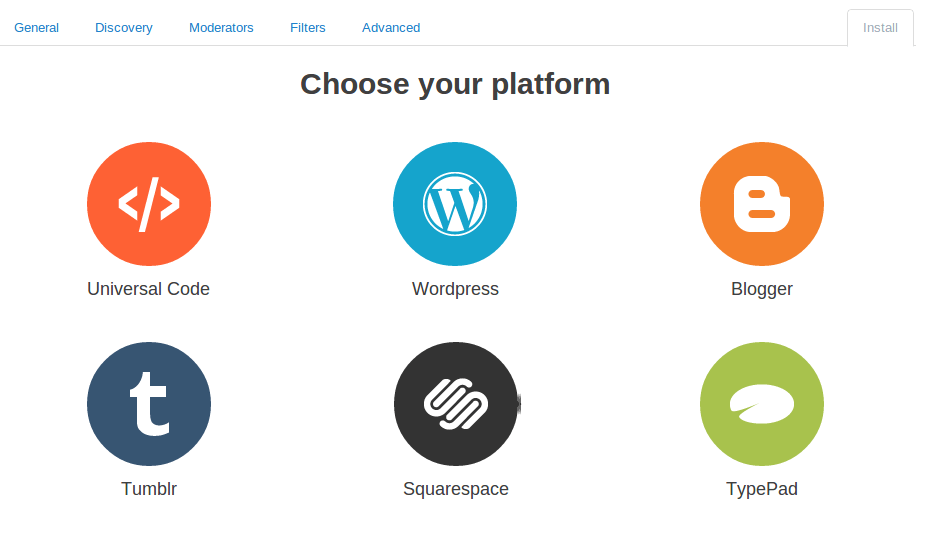 select your blog platform for disqus
