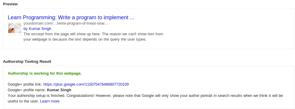 Google Authorship on search result