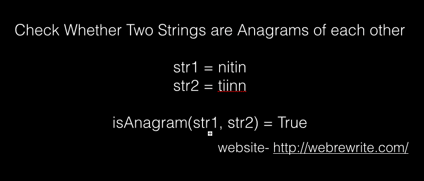Check whether two strings are anagrams of each other