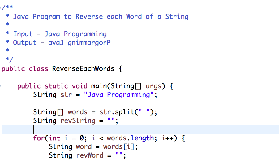 Java Program to Reverse Each Words of a String