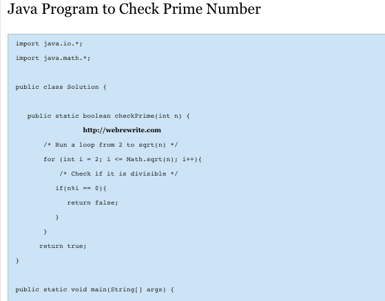 Java Program to Check Prime Number