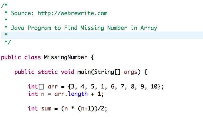 Java Program to Find Missing Number in Array