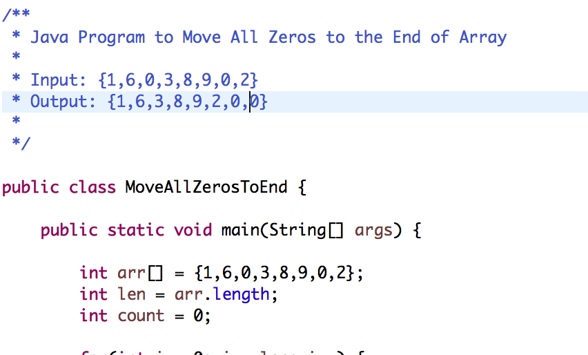 Java program to Move all zeroes to end of array