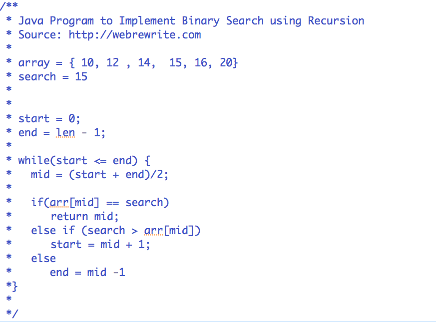 Binary Search using Recursion in Java : Explained with