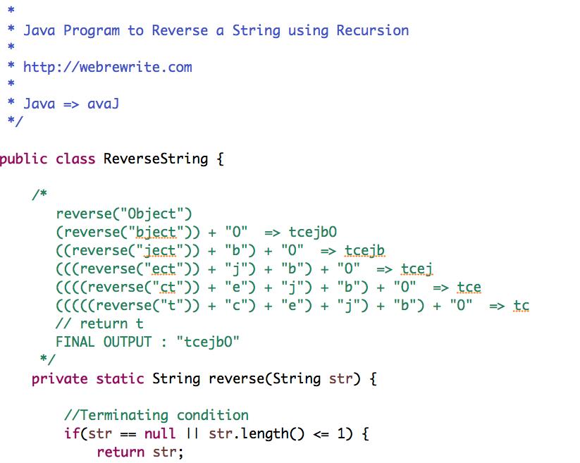 Java Program to Reverse a String using Recursion