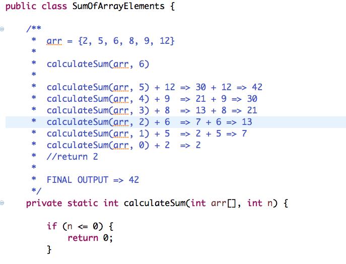 Sum of Array Elements using Recursion