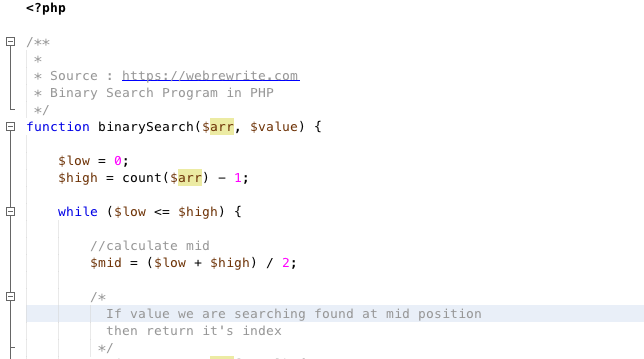 Binary Search in PHP