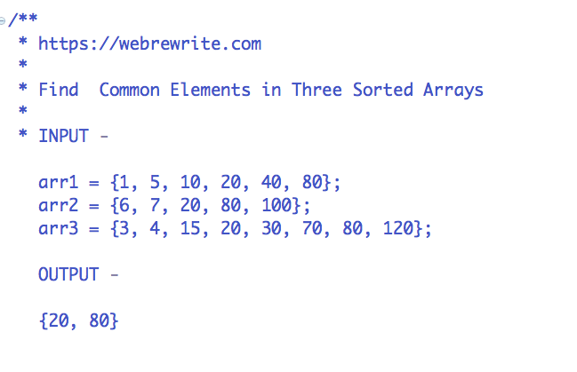 Find common elements in three sorted arrays