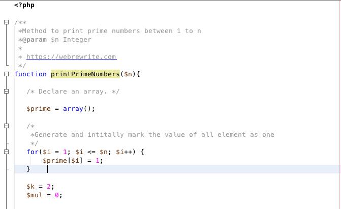 PHP Program to print prime numbers between 1 to N