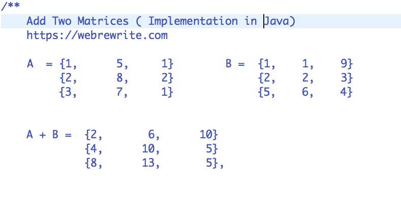 Add Two Matrices in Java