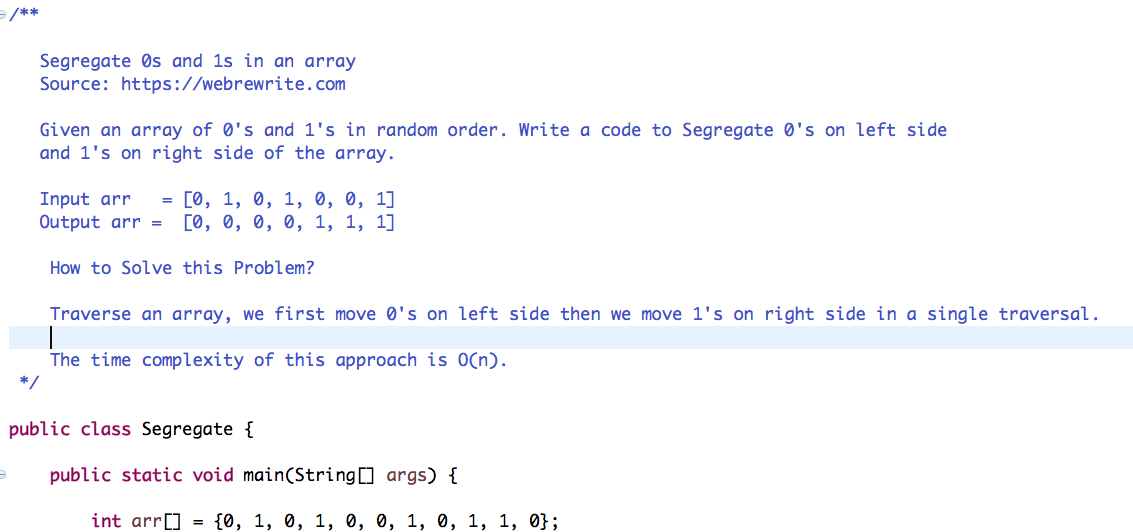 Segregate 0s and 1s in an Array - Java Code
