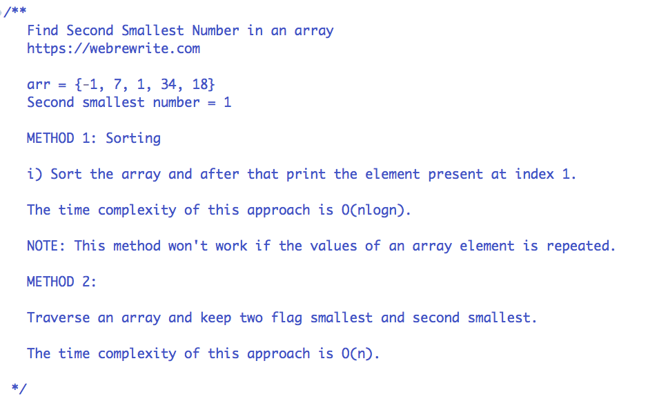 Find Second Smallest Number of an Array