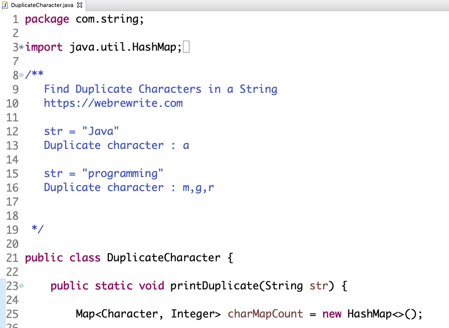 Find Duplicate Characters in a String