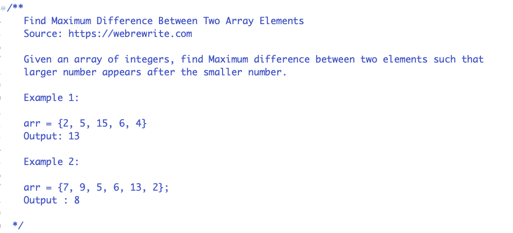 Find Maximum Difference between Two Elements of an Array