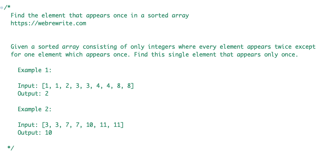 find the element that appears once in a sorted array