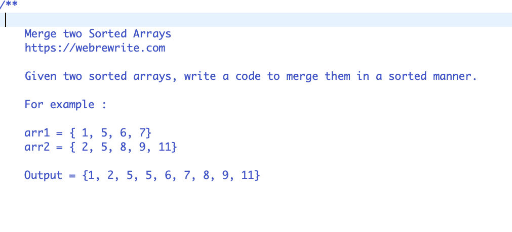 Merge Two Sorted Arrays into One Sorted Array